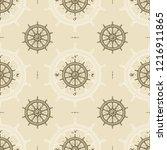 seamless vintage ship wheel... | Shutterstock . vector #1216911865
