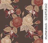 seamless pattern of stylized... | Shutterstock . vector #1216918162
