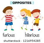 opposites furious and hilarious ... | Shutterstock .eps vector #1216954285