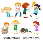 set of children scene... | Shutterstock .eps vector #1216954498