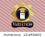 golden badge with phd thesis... | Shutterstock .eps vector #1216956832