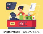 young smiling woman cashier at... | Shutterstock .eps vector #1216976278