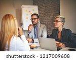 young blonde woman is having...   Shutterstock . vector #1217009608