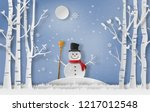 Paper Art Style Of Snowman...