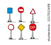 road signs. hand drawn vector... | Shutterstock .eps vector #1217012698