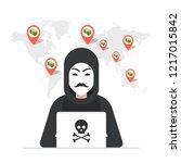 hacker sitting at the desktop... | Shutterstock .eps vector #1217015842