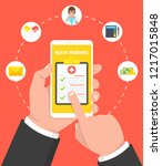 health insurance concept. hand... | Shutterstock .eps vector #1217015848