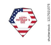 veteran day label with the flag ... | Shutterstock .eps vector #1217021575