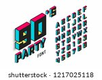 isometric 3d font  back to the... | Shutterstock .eps vector #1217025118