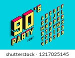 isometric 3d font  back to the... | Shutterstock .eps vector #1217025145