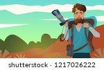explorer male carrying backpack ... | Shutterstock .eps vector #1217026222