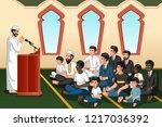 a vector illustration of muslim ...   Shutterstock .eps vector #1217036392