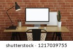 workplace with a computer.... | Shutterstock . vector #1217039755