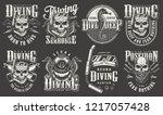 vintage monochrome diver labels ... | Shutterstock .eps vector #1217057428