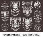 vintage wild west logotypes set ...   Shutterstock .eps vector #1217057452