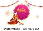 shubh  happy  diwali poster or... | Shutterstock .eps vector #1217071165