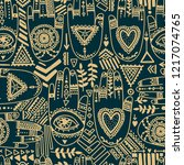 seamless pattern with tattooed... | Shutterstock .eps vector #1217074765
