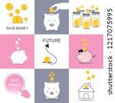 save money set piggy bank... | Shutterstock .eps vector #1217075995