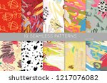 collection of seamless patterns.... | Shutterstock .eps vector #1217076082