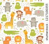 cute safari animals seamless... | Shutterstock .eps vector #1217100355