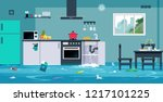 flood in the kitchen caused by... | Shutterstock .eps vector #1217101225