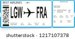 blue realistic boarding pass... | Shutterstock .eps vector #1217107378