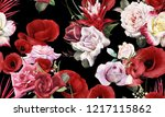 seamless floral pattern with... | Shutterstock . vector #1217115862