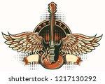 rock guitar winged emblem   Shutterstock .eps vector #1217130292