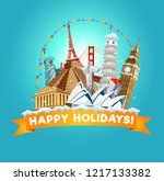 happy holidays greeting card... | Shutterstock .eps vector #1217133382