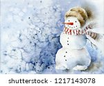 cheerful snowman in scarf and... | Shutterstock . vector #1217143078