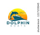 dolphin and boat logo | Shutterstock .eps vector #1217155045