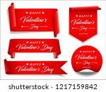 valentines red banner set.... | Shutterstock .eps vector #1217159842