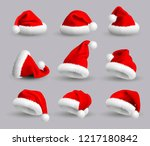 collection of red santa claus... | Shutterstock .eps vector #1217180842