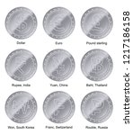 9 currencies silver coin with... | Shutterstock .eps vector #1217186158