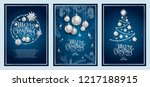 set of three card merry... | Shutterstock .eps vector #1217188915