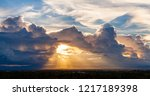 colorful dramatic sky with... | Shutterstock . vector #1217189398