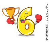 boxing winner number six...   Shutterstock .eps vector #1217196442