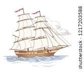 sailing ship at vintage style.... | Shutterstock .eps vector #1217203588
