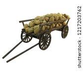 wooden cart filled with melon... | Shutterstock . vector #1217203762