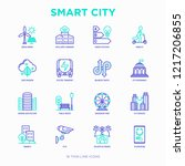 smart city thin line icons set  ... | Shutterstock .eps vector #1217206855