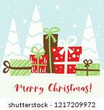 christmas gift box simple... | Shutterstock .eps vector #1217209972