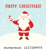 santa claus hold gift box... | Shutterstock .eps vector #1217209975