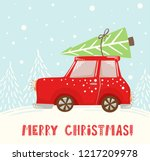 christmas car with fir tree...   Shutterstock .eps vector #1217209978