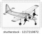 light airplane architect... | Shutterstock . vector #1217210872