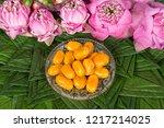 thai mung bean marzipan and egg ... | Shutterstock . vector #1217214025