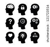 head brain vector icons set | Shutterstock .eps vector #121723516
