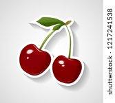 cherry sticker vector... | Shutterstock .eps vector #1217241538