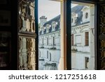 French cheateau Chenonceau in Loire Valley. View from the window on a sunny day - stock photo
