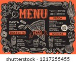 pizza menu template for... | Shutterstock .eps vector #1217255455