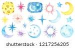 Watercolor Moon  Stars Set...